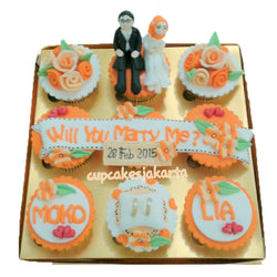 Orange Proposal Hantaran Cupcakes (CCH903)