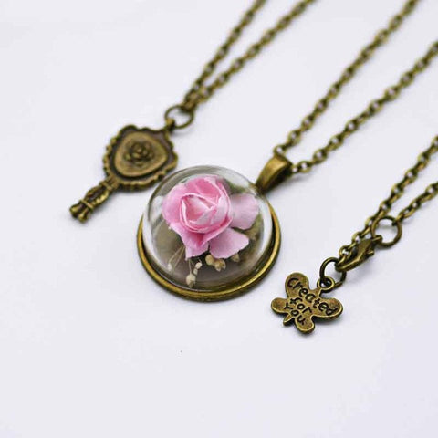 Red rose glass dried flower necklace thecoolbrands red rose glass dried flower necklace mozeypictures Image collections