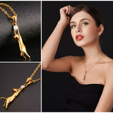Cat Necklace Rhinestone with Chain Platinum/18K Gold Plated