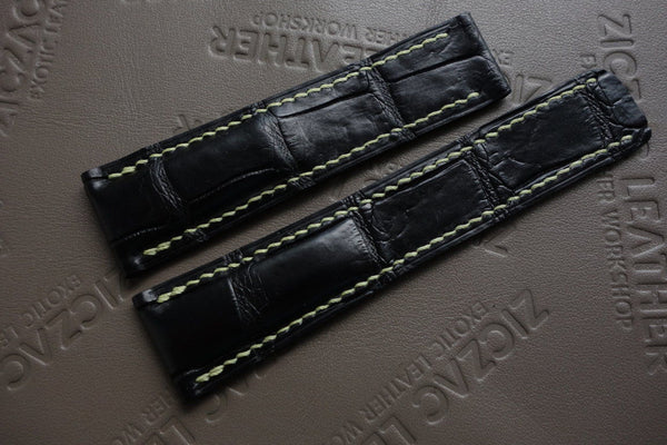 24mm Black Genuine Alligator Deployment Band for BREITLING-strapmeister StrapMeister $78.99