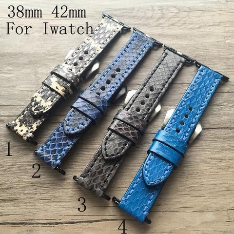 38mm 42mm Apple Watch Strap.Python Genuine Leather - StrapMeister