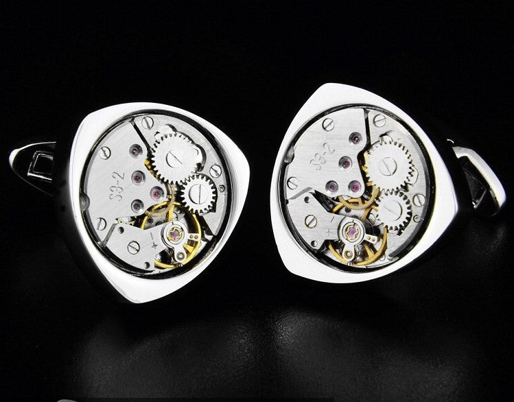 Hand wind Watch Movement triangle cufflinks - StrapMeister
