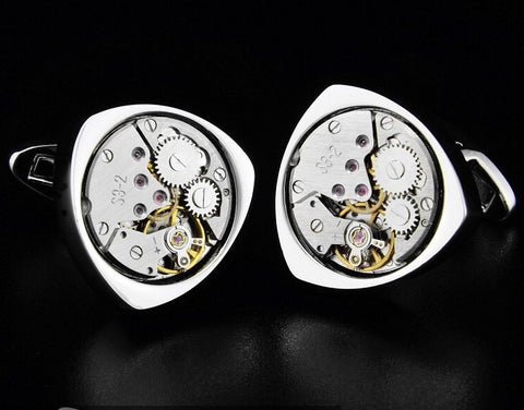 Hand wind Watch Movement triangle cufflinks StrapMeister $34.18