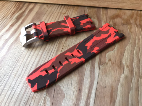 Cheap Audemars Piguet RED Camouflage rubber strap-free shipping StrapMeister $59.99