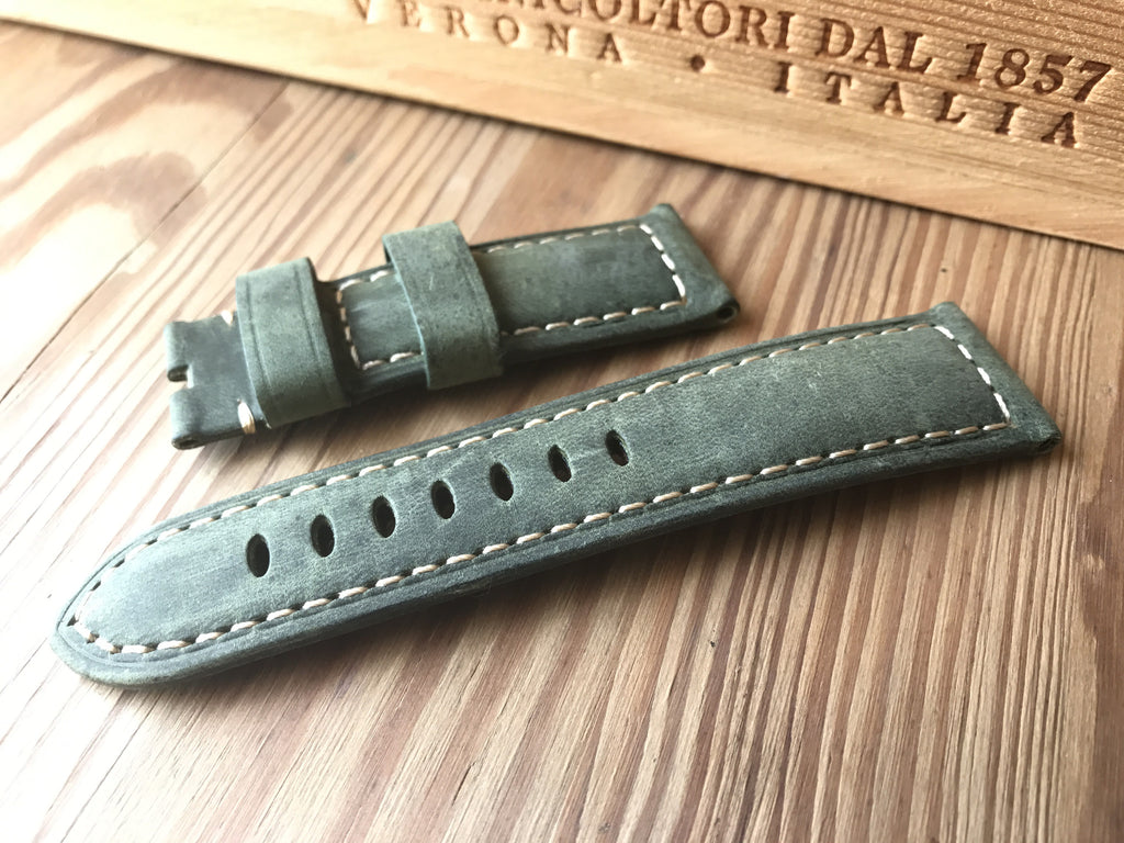 Best Panerai olive green Assolutamente strap-Free shipping - StrapMeister