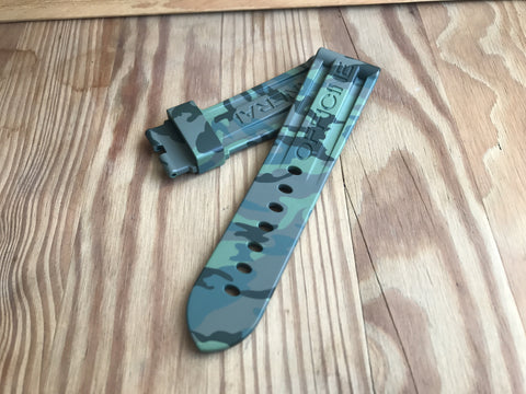Best & cheapest Green camouflage Panerai rubber strap-free shipping StrapMeister $59.99