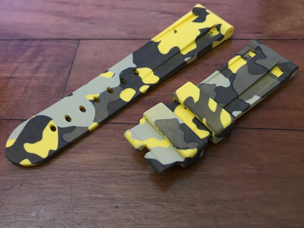 24mm Bumblebee Camo rubber strap StrapMeister $39.99