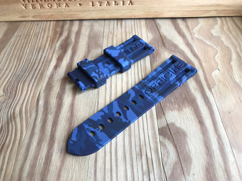 Quality Blue camouflage rubber strap for Panerai-Strapmeister StrapMeister $59.99