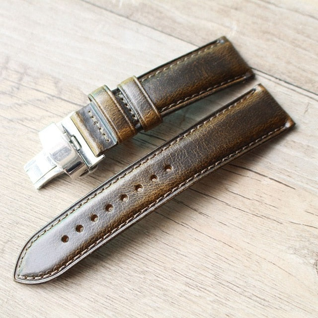 Strapmeister Vintage style leather strap with Clasp-Free shipping - StrapMeister