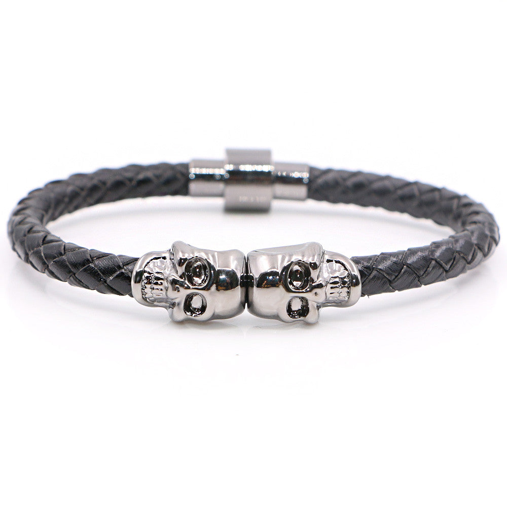 Twin Skull black leather Bracelets - StrapMeister