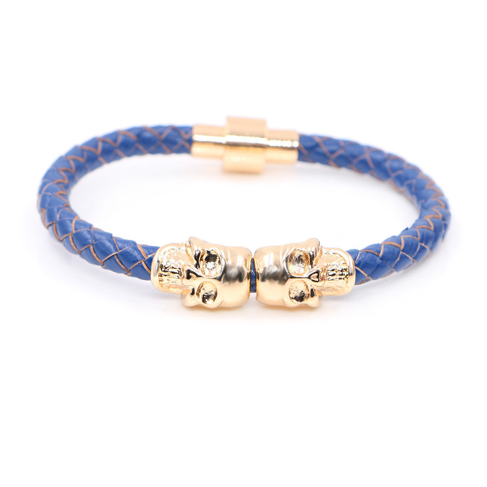 Twin Skull blue leather bracelets - StrapMeister