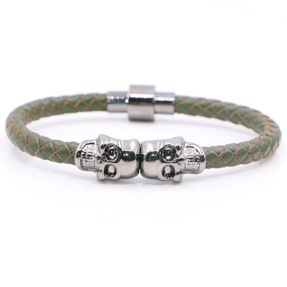 Twin Skull green leather Bracelets - StrapMeister