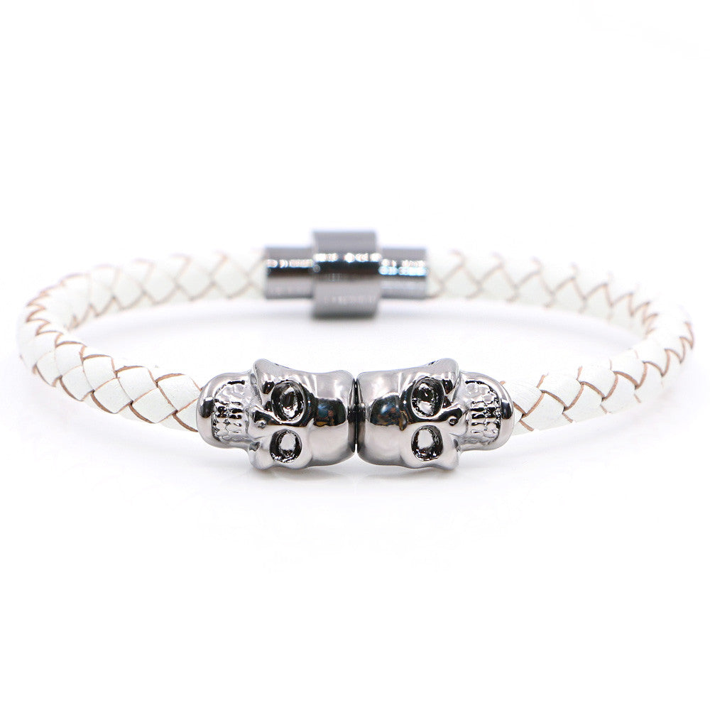 Twin Skull white leather bracelets - StrapMeister