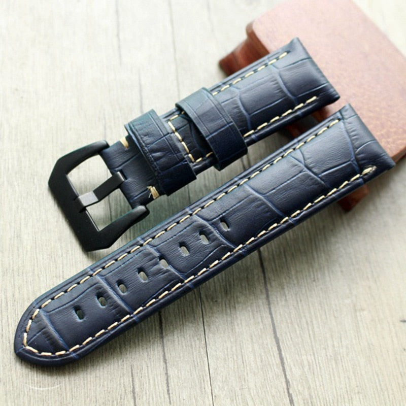 24mm Blue Leather Strap for PAM Free Shiping StrapMeister $35.99