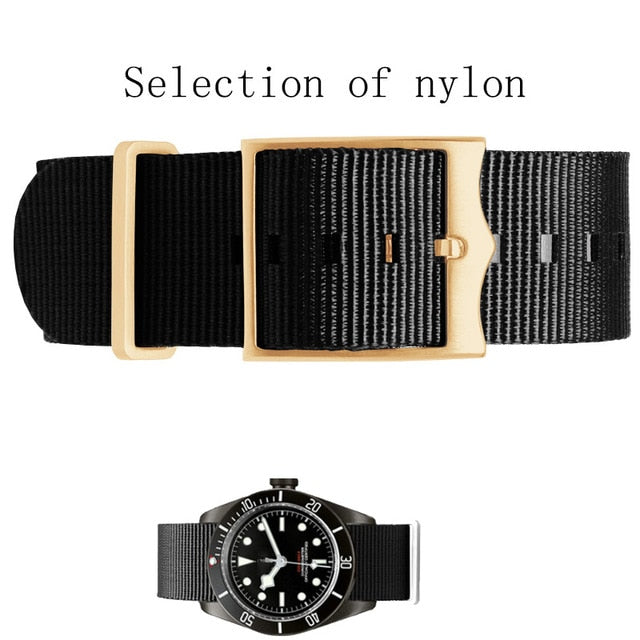 Tudor Nato straps With Gold Rings & Buckle - StrapMeister