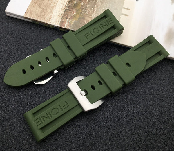 Panerai Olive Green Rubber Strap - StrapMeister