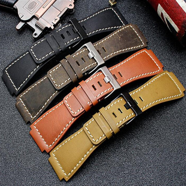 34*24mm Calfskin Leather Watch Band For Bell Series BR01 BR03 - StrapMeister