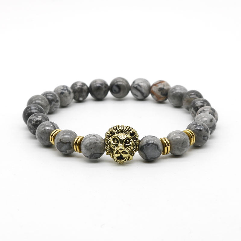 Lion Head with grey natural stone bracelet - StrapMeister