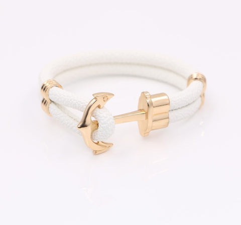 Anchor & Stingray white leather bracelet - StrapMeister