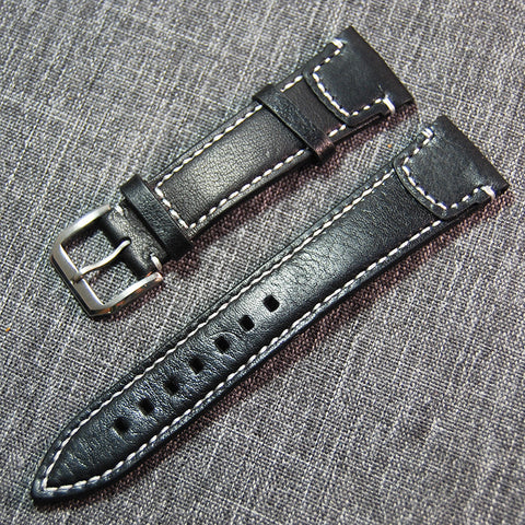 22mm genuine leather pilot sytle strap - StrapMeister