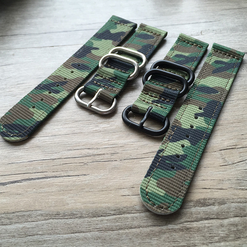 Green camo 2 piece zulu strap-strapmeister-free shipping - StrapMeister