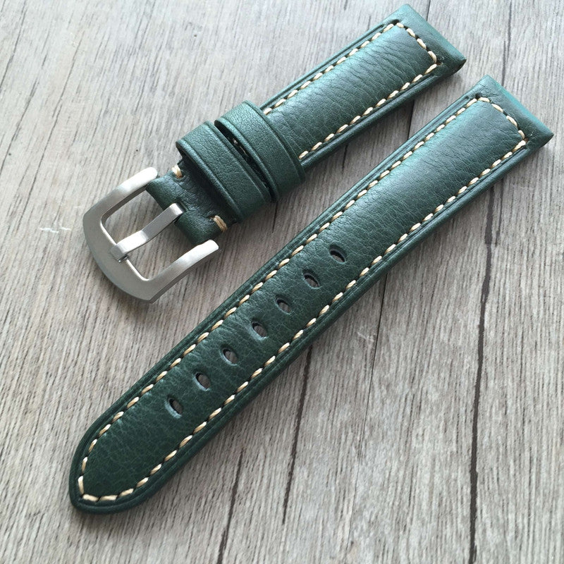 Green 20mm crazy horse leather strap - StrapMeister