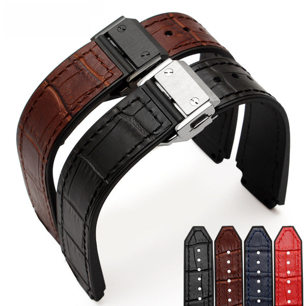 Cheap 21*15mm Genuine calf Leather/rubber strap for Hublot-free shipping StrapMeister $25.99