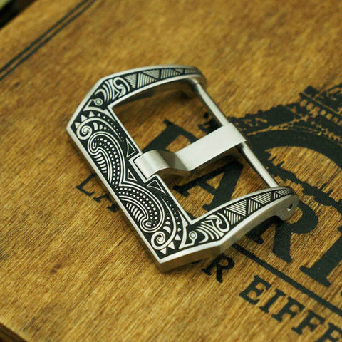 20mm Panerai Buckle with Maori style engraving - StrapMeister