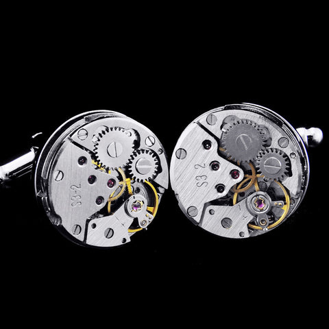 Hand wind Mechanical Watch Movement cufflinks - StrapMeister