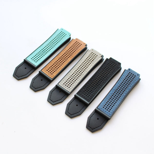 Hublot perforated suede top rubber strap - StrapMeister