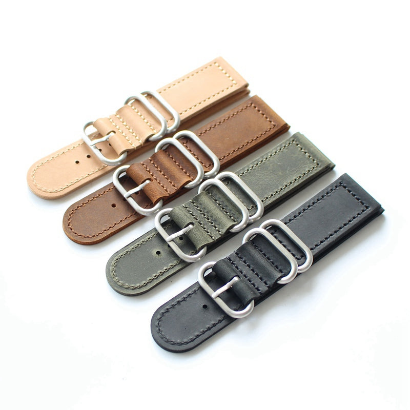 2 piece Leather Zulu strap - StrapMeister