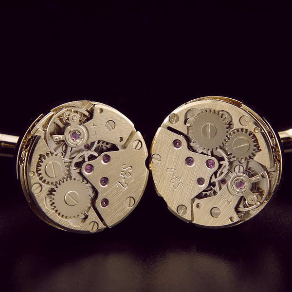 Hand wind Watch Movement gold plated cufflinks - StrapMeister
