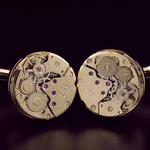 Hand wind Watch Movement gold plated cufflinks StrapMeister $29.99
