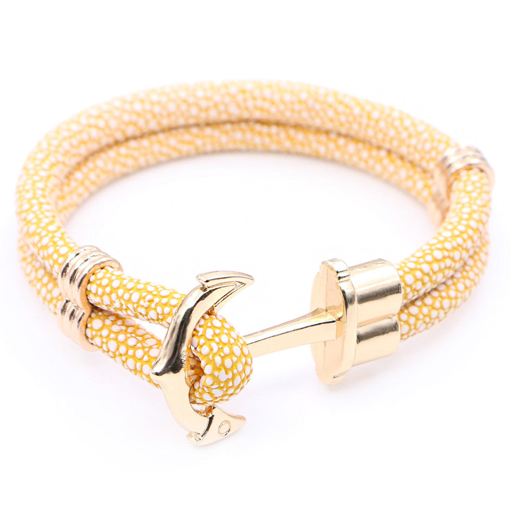 Anchor & Stingray yellow leather bracelet StrapMeister $12.00