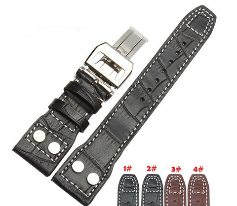 22mm Black Leather Rivet Strap Deployment For IWC StrapMeister $39.99