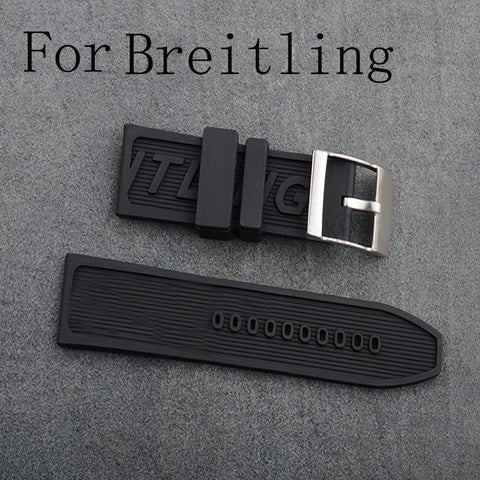 24mm Soft Silicone Rubber Watch Strap For Breitling StrapMeister $48.00