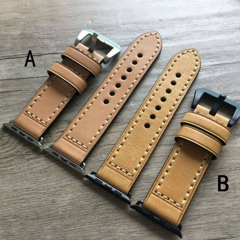 Vegetable Tanned Leather Strap, 42MM / 38MM For IWATCH - StrapMeister