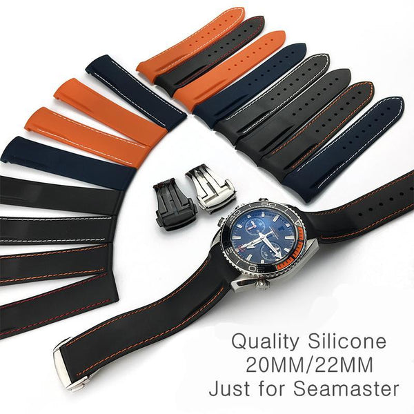 Omega Planet Ocean rubber straps with clasp-strapmeister - StrapMeister