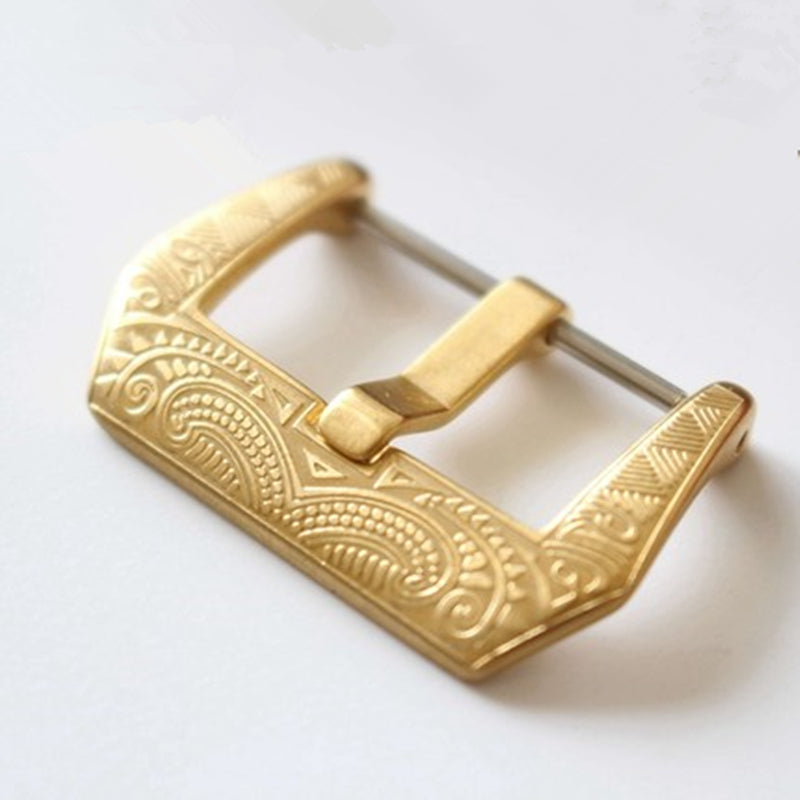 Maori style engrave buckle in Gold Plated - StrapMeister