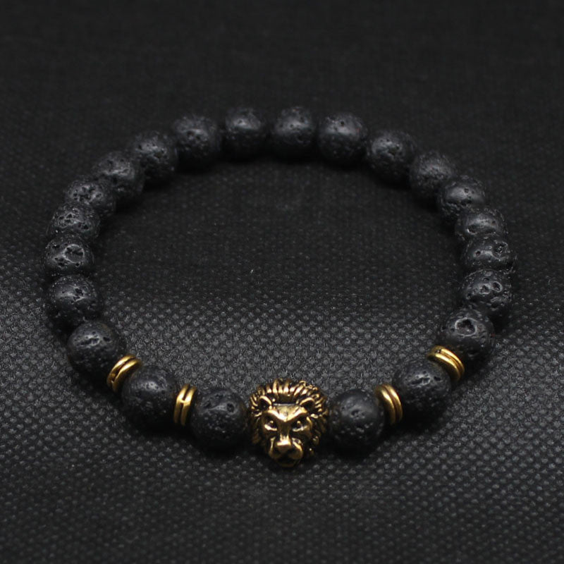 Leo Lion Head & Black Lava Stone Beaded Bracelets - StrapMeister