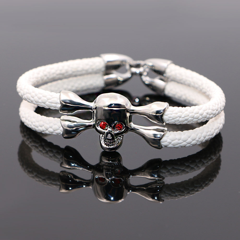 White stingray leather skull Bracelet - StrapMeister