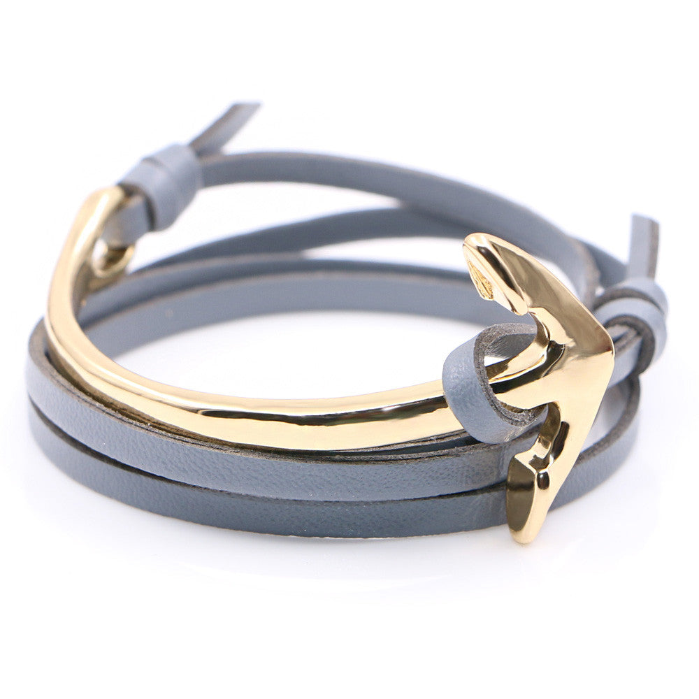 Half curve Anchor grey leather bracelet - StrapMeister