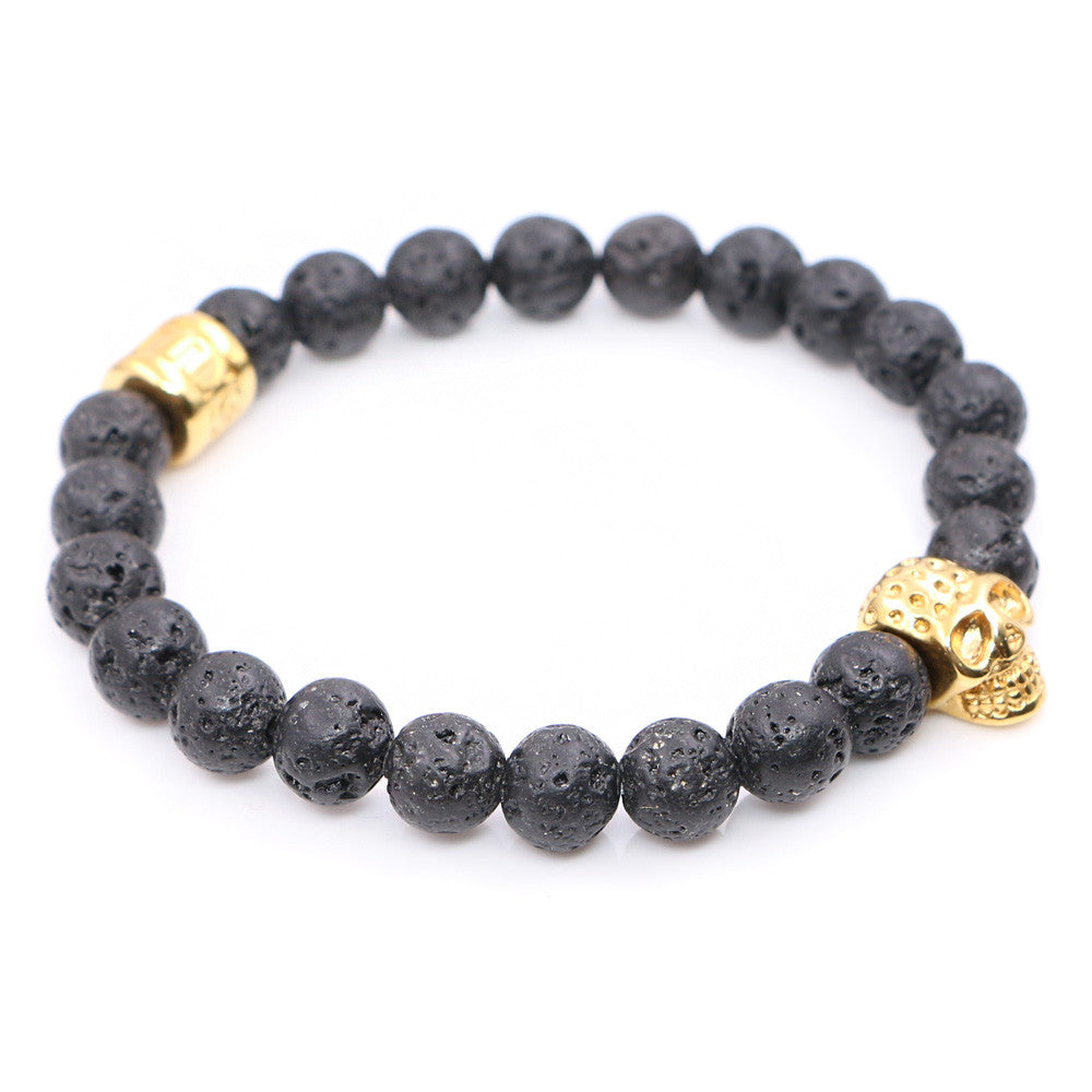 Lava Stone Beads with Stainless steel Skull Charms Bracelets - StrapMeister