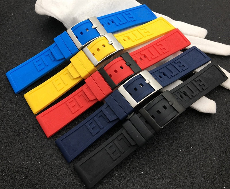 Breitling 22 and 24mm Rubber strap StrapMeister $38.99