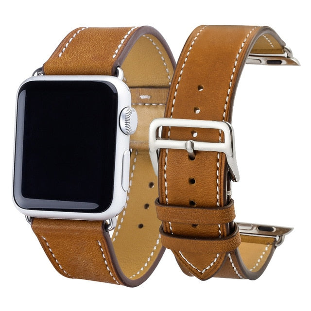 Applewatch fine grained leather strap(42 & 38 mm) StrapMeister $33.99