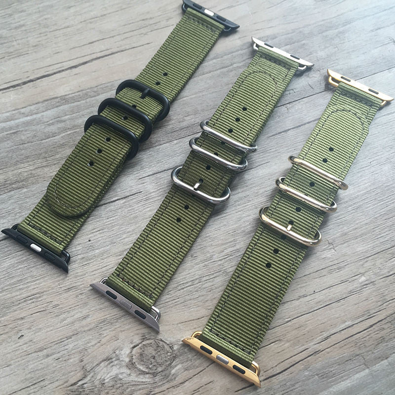 Apple/Iwatch olive green Zulu strap - StrapMeister