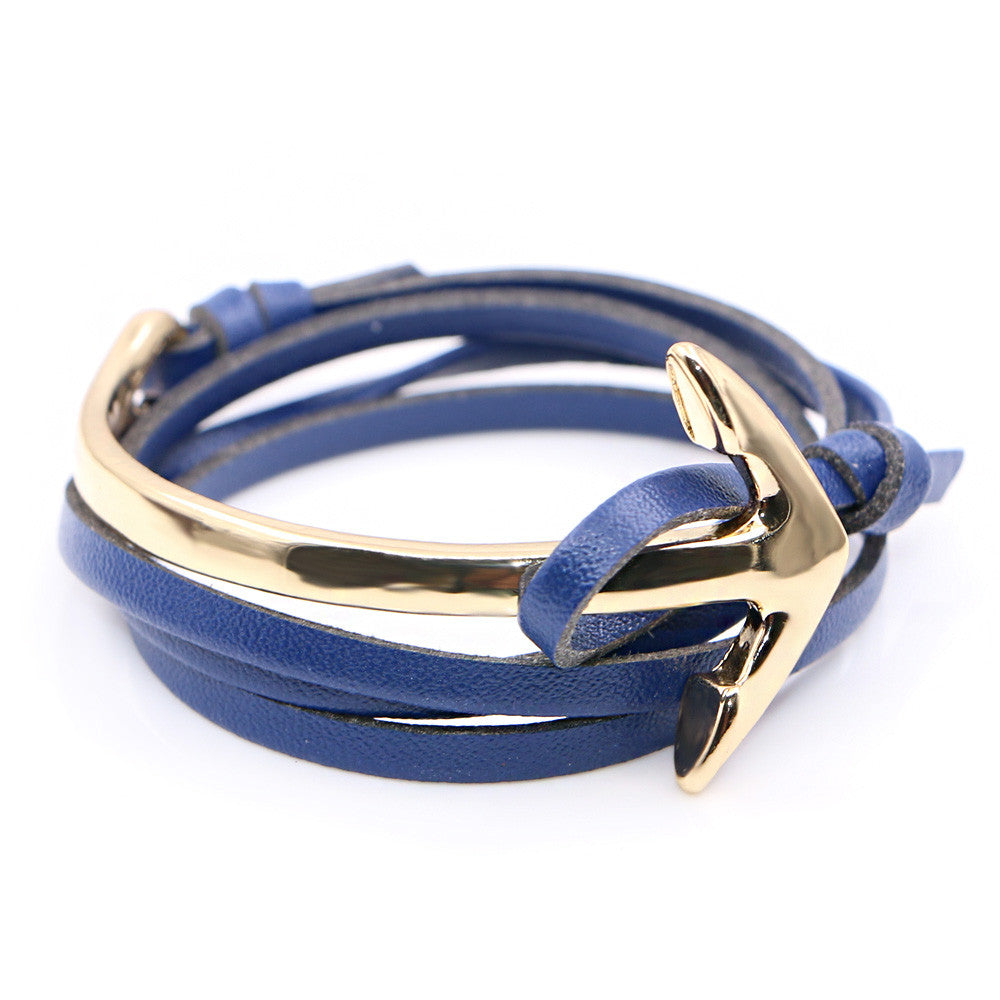 Half curve Anchor blue leather bracelet - StrapMeister