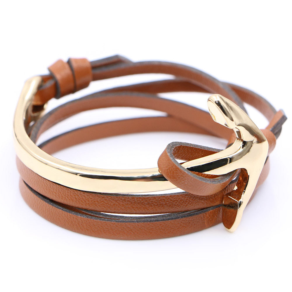 Half curve Anchor brown leather bracelet - StrapMeister