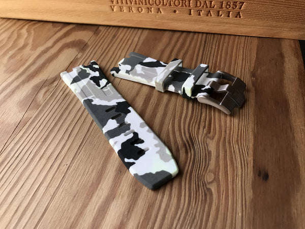 Quality Cheap Audemars Piguet White Camo rubber strap. StrapMeister $59.99