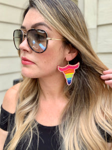 Multi-Color Longhorn Earrings